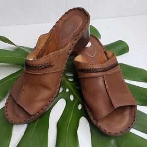Ariat Brown Leather Open Toe Clog Size 7